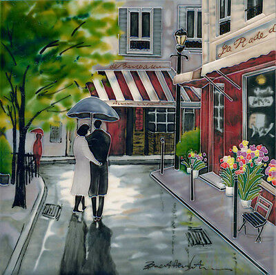 "HAND PAINTED CERAMIC WALL TILE ""ROMANTIC STROLL"" by BRENT HEIGHTON 12"" x 12"""