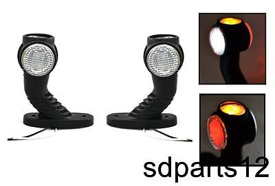 2x Luce ingombro a 3LED 3 Colori Gambe in gomma Fanale Laterale Tensione 12/24V