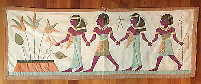 Antique Egyptian Revival Art Deco Applique Tapestry Textile Wall Hanging Pharaoh