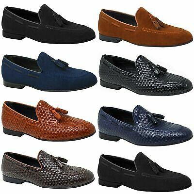 Mens Faux Leather Tasseled Loafers Brown Suede Vintage Wedding Formal Shoes