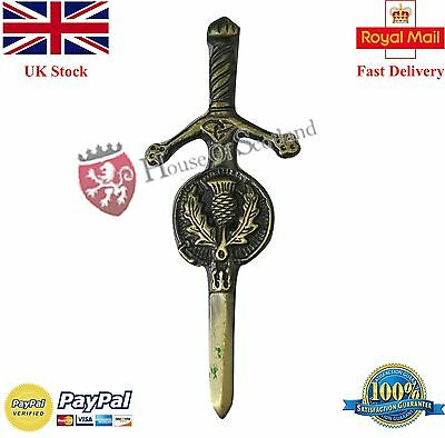 "New Scottish Thistle Kilt Pin Antique Finish 3.5""/Celtic Sword Kilt Pins Thistle"
