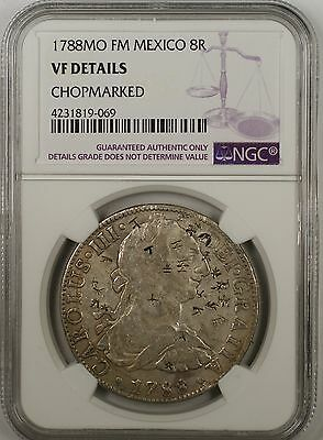 1788-MO FM Mexico 8 Reales Silver Coin NGC VF Details Chopmarked Chopmarks