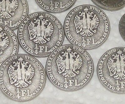 """1859 1/4 FL set 10 Vtg New Antiqued SILVER Metal coin like buttons ITALY 15/16"""""""