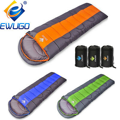 4-5 Season Adult Waterproof Envelope Sleeping Bag Camping Hiking Suit Case Zip