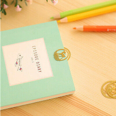 New 2Pcs Cute Animal Gold Plated Metal Hollow Deer Bookmark Book Paper Reading
