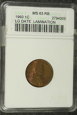1960 ANACS MS63 RED BROWN Large Date Lamination Lincoln Memorial Cent!! #E3107