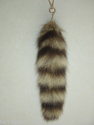 2pcs Real Large American Raccoon Tail Fur Keychain Tassel Bag Tag Charm