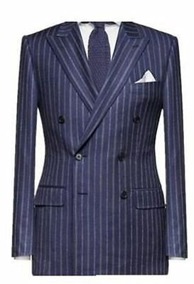 Mens' Suit 2-piece Double Breasted Groom Wedding Wool Blend Pin Stripe Tuxedo