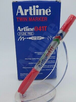 2 x Artline Red 041T Twin Permanent Marker Dual Nib 1.0mm 0.4mm 104102***