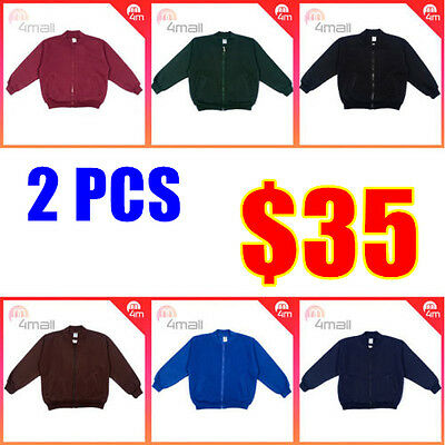 2 PCS Boys Girls Kids Fleecy Fleece School Uniforms Zippered Jacket Top Sz