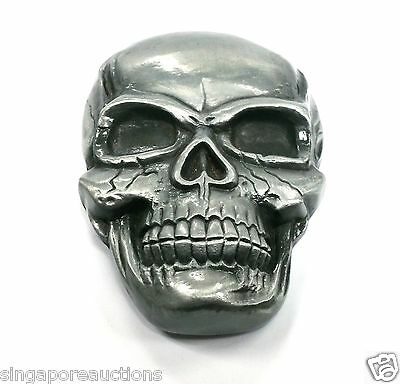 Vintage 1980S Skull Skeleton Metal Belt Buckle Grit Rare Hard To Find