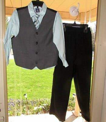 Boys Sz 5 Arrow Dress Suit Black Gray Aqua 4 Piece W/ Vest & Tie