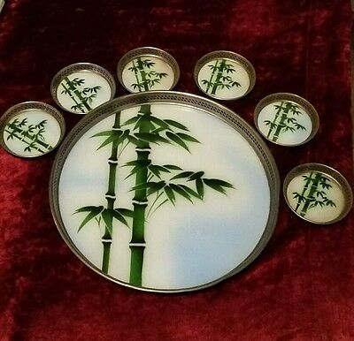 Glass & Plated Tray With 6  Coasters. Bamboo Design. Vintage