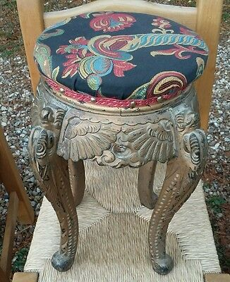 Oriental Stool With Carved Dragon Legs Padded Seat