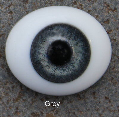 Solid Glass, Flatback Oval Paperweight Eyes - Grey, 20mm