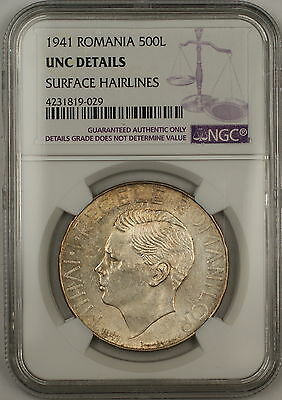 1941 Romania 500 Lei Silver Coin NGC UNC Details Surface Hairlines (B)