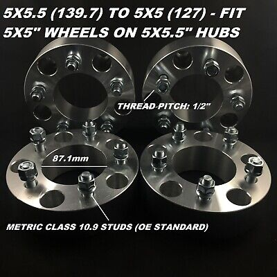 4pc Wheel Spacers Adapters ¦ 5x5.5 (5X139.7) To 5x5 (5X127) 38mm 1.5 Inch 1/2 RH