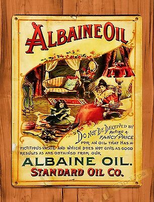 "TIN-UPS TIN SIGN ""Albaine Oil"" Rustic Garage Tires Wall Decor"