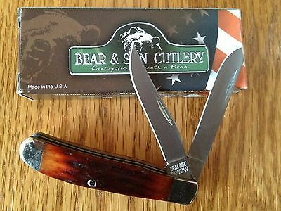 """Bear & Son Cutlery Trapper Red Stag Bone Handle Knife 3-1/2"""" RSB07 MADE IN USA"""