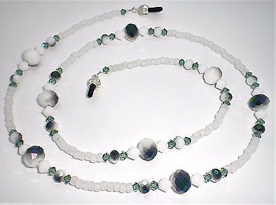 Erinite / White Alabaster Crystal Metallic Green Bead Mix Eyeglass Chain