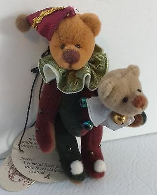 NEW GANZ Miniature Jester Bear Cottage Collectibles Jointed Retired