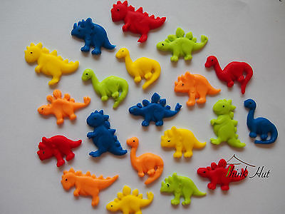 12 Edible Multy Colour Dinosaurs 3Cm- 4Cm  Birthday Cake Cupcake Toppers