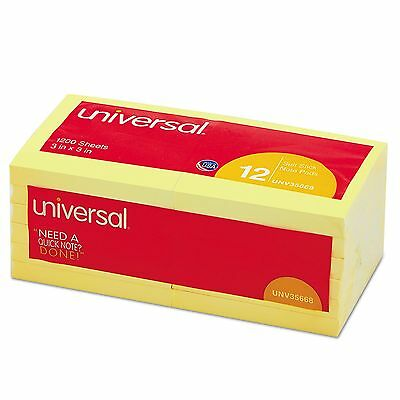 Universal Self Stick 3 X 3 Yellow Post It Notes 100 Sheet x 12 Pads = 1200 Total