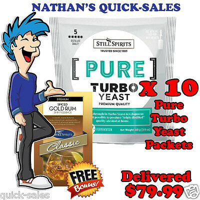 PURE - Triple Distilled Turbo Yeast x 10 Pack Promo @ $79.99 - SPICED GOLD RUM