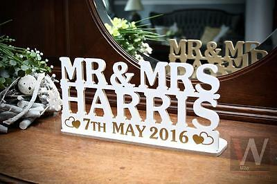 Mr&Mrs personalised wedding tea light holder, stand with DATE over 20 colours