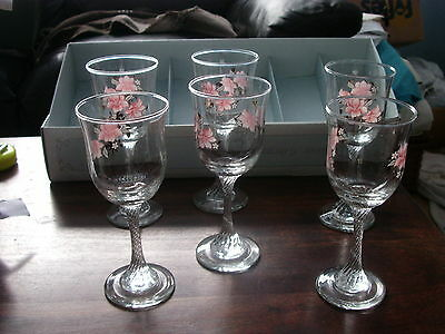 A set of 6 Elite wine glasses boxed