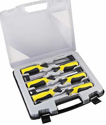 6pc H/duty Quality Wood Chisel Set Carpenters Woodworking Tools + Carry Case