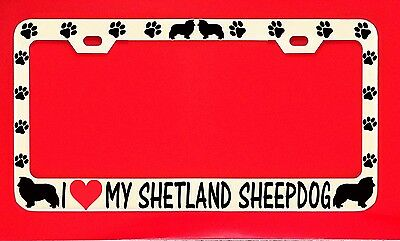 BORZOI PAW LOVE HEART PET DOG Metal License Plate Frame Tag Holder Two Holes