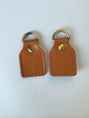 Sew On Leather Handle Attachment With D Rings Tan & Antique Brass 6.5cm X 3cm