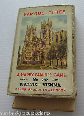 Vintage Famous Cities Happy Families Card Game Piatnik Vienna Austria Made