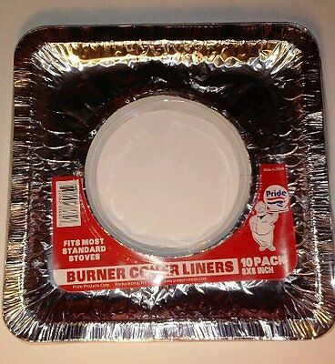 "LOT OF 40 - 4 packs of 10 SQUARE 8"" X 8"" ALUMINUM GAS BURNER STOVE COVERS NEW"