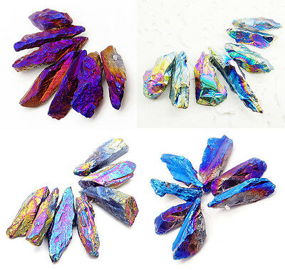 9pcs/set titanium QUARTZ crystal druzy geode pendant rough loose bead wholesale