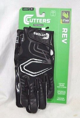 Cutters REV Football Receiver Gloves S250 Black Sizes Adult Small Medium Large