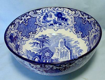 Large 10 1/2 Inches Diameter Blue & White Footed Bowl In Abbey Design