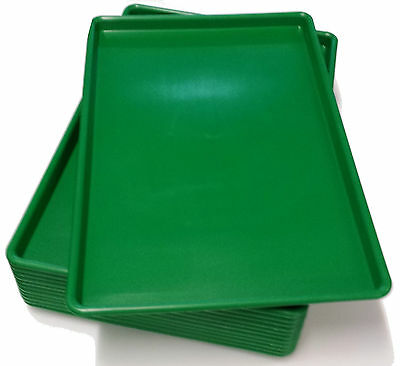 "(12) One Dozen 18"" x 26"" x 1""  GREEN PLASTIC  PLATTER TRAY USDA Approved Pan"
