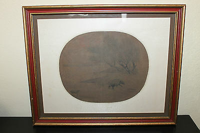 Old Antique Chinese Framed Fan Painting on Silk