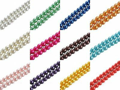 4/6/8/10mm Wholesale Lots 23 Colors Loose Round Glass Pearl Spacer Beads Hot