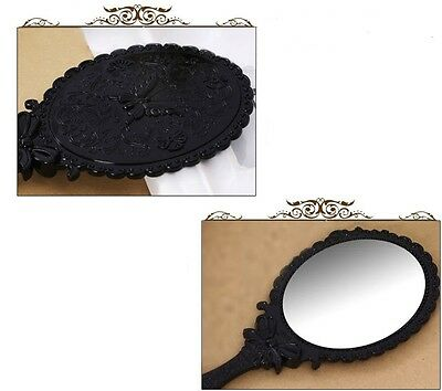 Antique Style Floral Butterfly Vintage Mirror Handheld Makeup Beauty Dresser