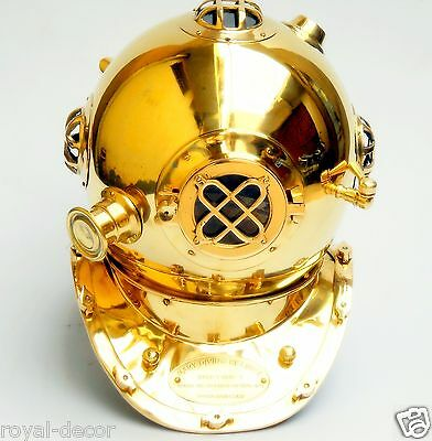 Shiny golden us navy divers helmet brass finish marine replica collectible