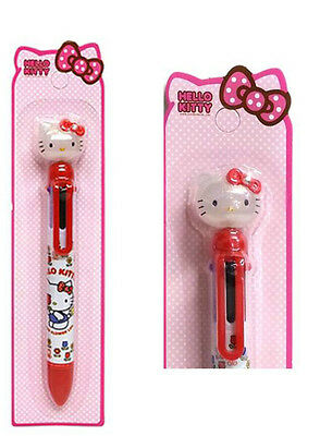 Red Hello Kitty  Ballpoint pen 6 Color School Stationery Sanrio Smooth writing