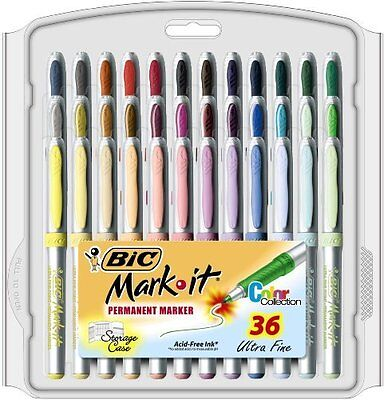 BIC Mark-It Permanent Marker, Ultra Fine Point, Assorted Colors, 36-Count