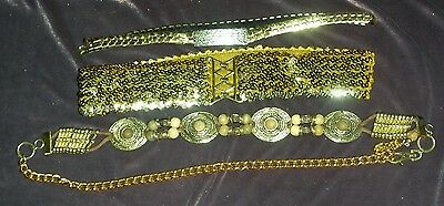Lot of 3 Pretty, Vintage Gold Tone Jewelry Belts