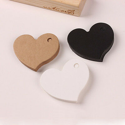 50 DIY Heart Gift Paper Label Price Hang Tags Cards Wedding Party Favor NoWUNO