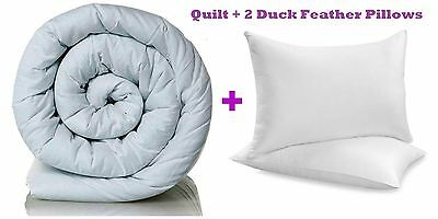 Duvet Quilt With 2 Duck Feather Pillows Single Double King Bed 10.5 13.5 15 TOG