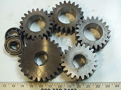 5-pc SET, Heavy Duty, 14-1/2 Degree Angle Spur Gear,6-PITCH,good used, FREE SHIP