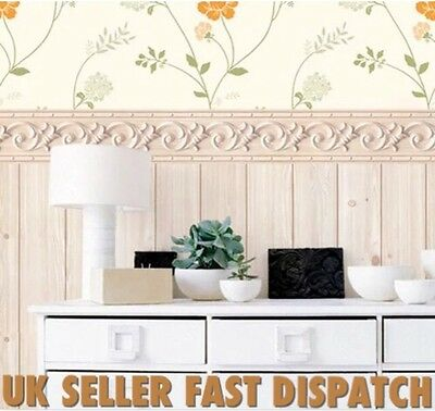 Luxury 3D Effect Vintage Shabby Chic Self Adhesive Border Wall Sticker Wallpaper
